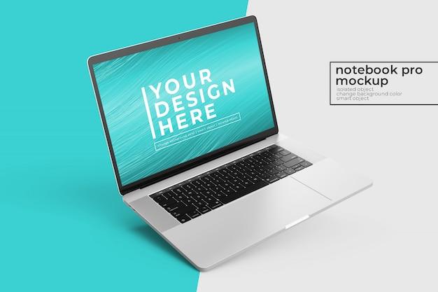 Bewerkbaar realistisch premium laptop mock up design in links gekantelde positie in linkeraanzicht