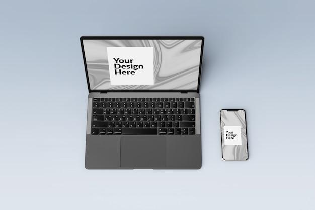 Bewerkbaar stel smartphone- en laptopmodel voor digitale apparaten in
