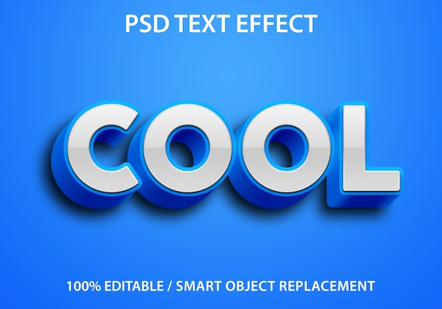 Bewerkbaar teksteffect blue cool premium