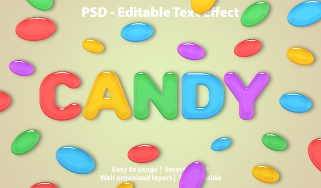 Bewerkbaar teksteffect candy