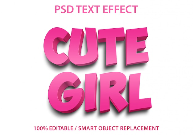 Bewerkbaar teksteffect cute girl