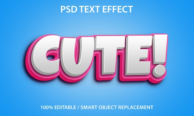 Bewerkbaar teksteffect cute premium