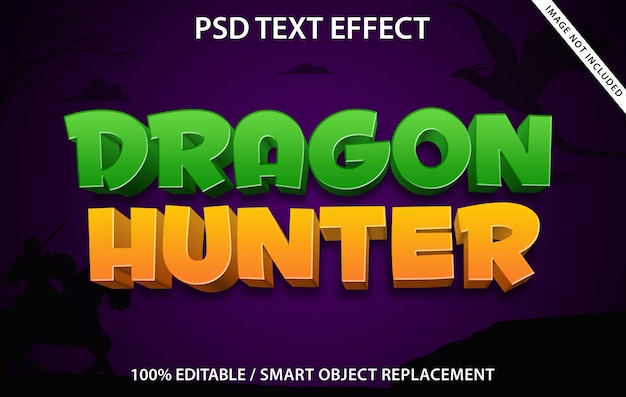 Bewerkbaar teksteffect dragon hunter