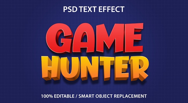 Bewerkbaar teksteffect game hunter