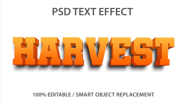 Bewerkbaar teksteffect harvest premium