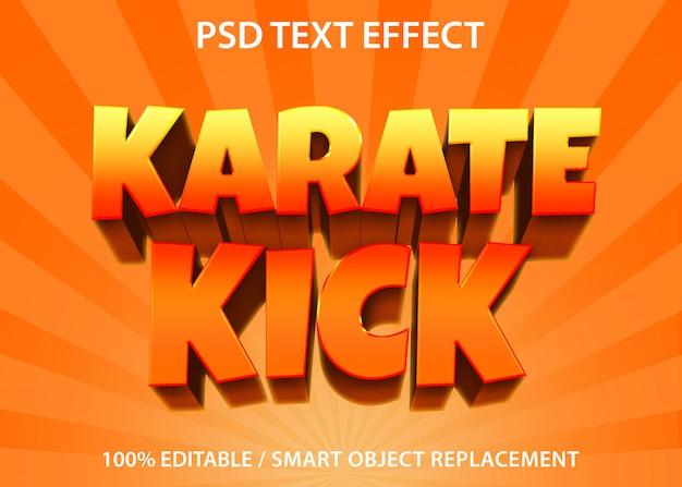 Bewerkbaar teksteffect karate kick premium