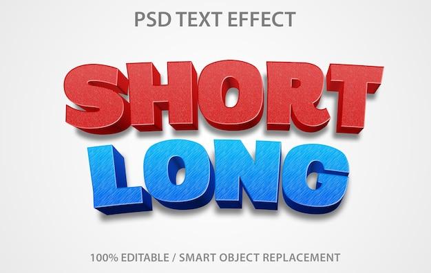 Bewerkbaar teksteffect kort lang