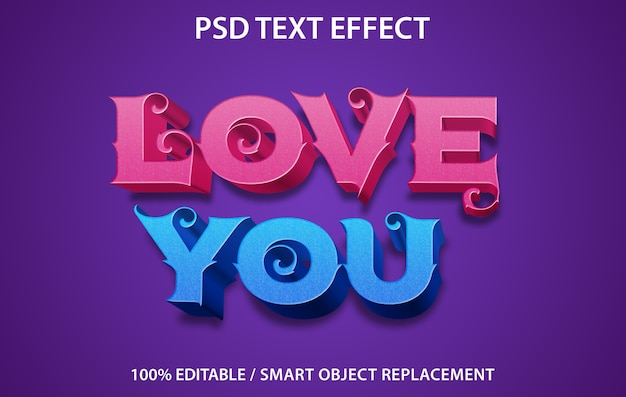 Bewerkbaar teksteffect love you-sjabloon