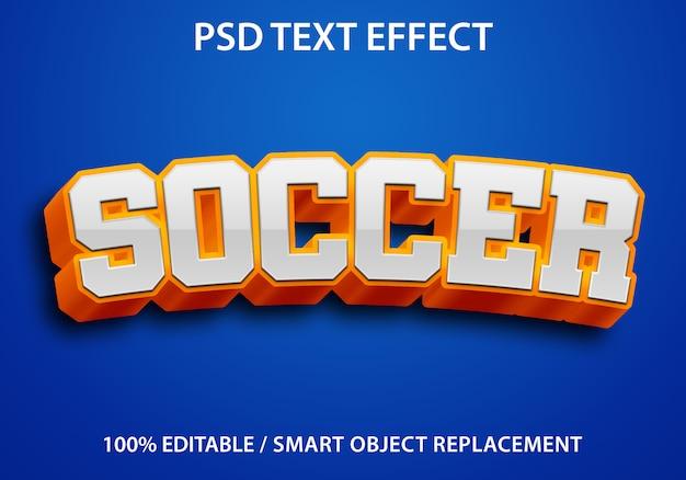 Bewerkbaar teksteffect oranje voetbal premium
