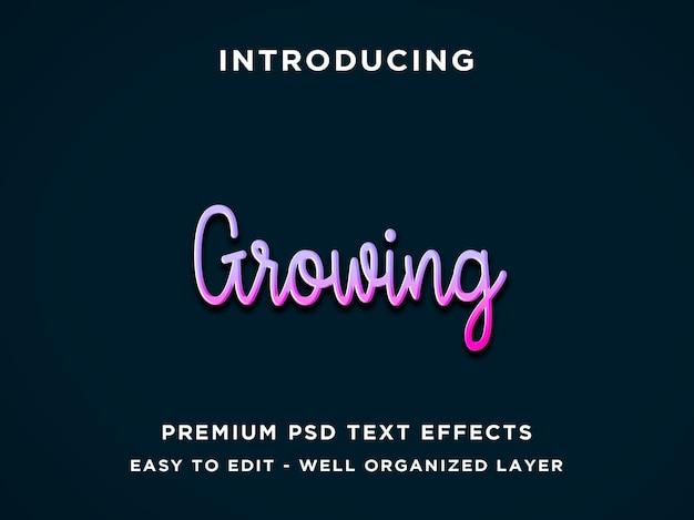 Bewerkbaar teksteffect - paarse groeiende stijl