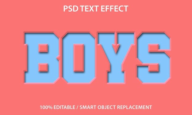 Bewerkbaar teksteffect paper boys Premium Psd