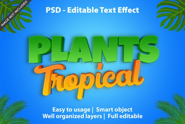 Bewerkbaar teksteffect plant tropical