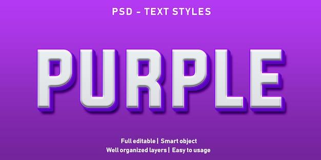 Bewerkbaar teksteffect purple premium