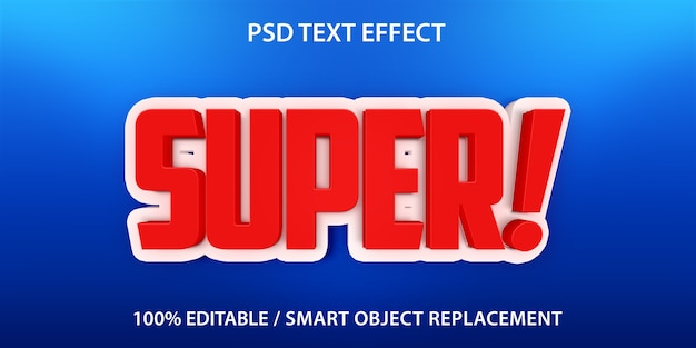 Bewerkbaar teksteffect super