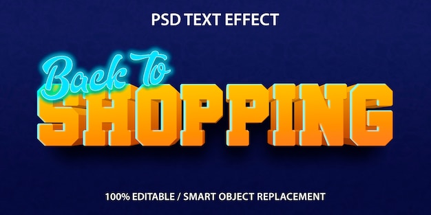 Bewerkbaar teksteffect terug naar winkelen