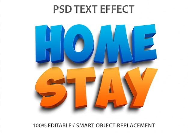 Bewerkbaar teksteffect thuisverblijf