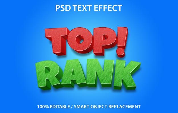 Bewerkbaar teksteffect toprang