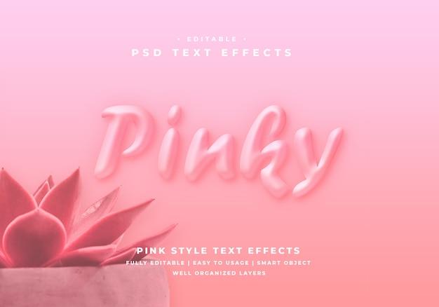 Bewerkbare 3d pinky tekststijl effect