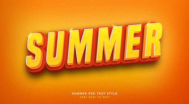 Bewerkbare 3d-tekststijl effect psd met glanzende zomer