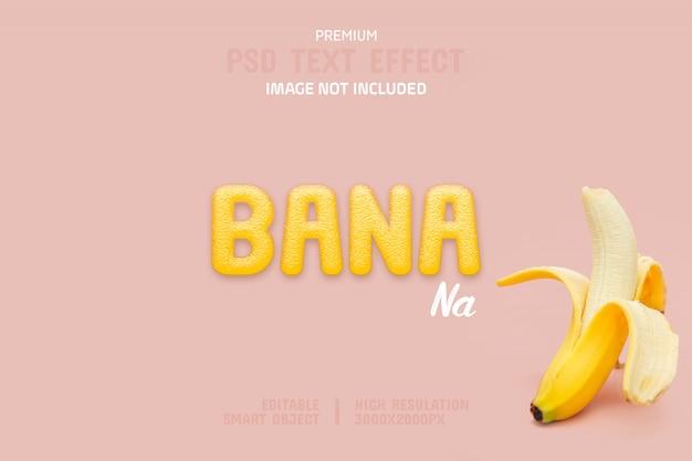 Bewerkbare banaan teksteffect sjabloon