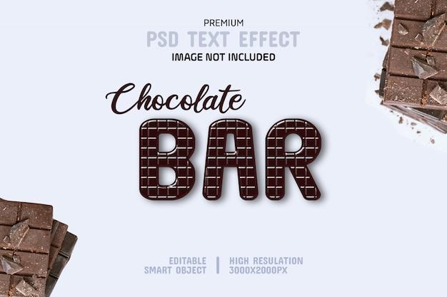 Bewerkbare chocoladereep teksteffectsjabloon
