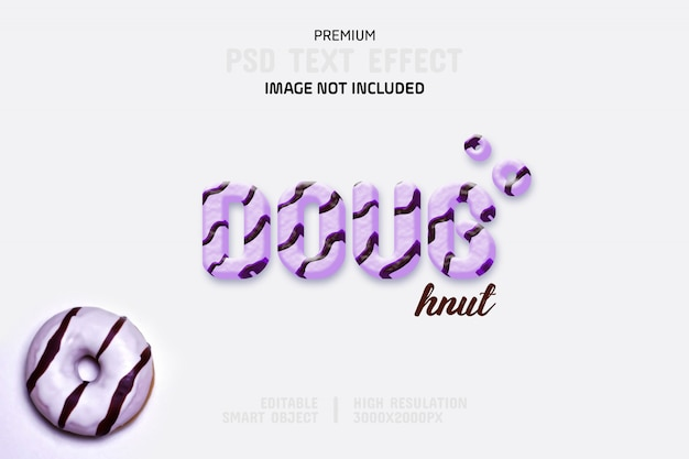 Bewerkbare donut-teksteffectsjabloon