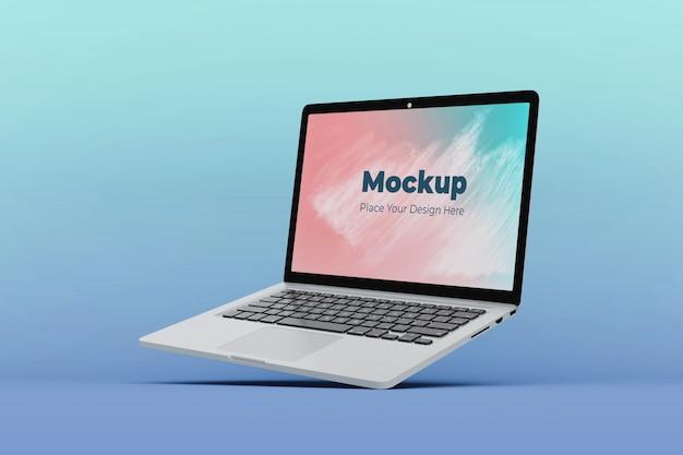 Bewerkbare drijvende laptop scherm mockup ontwerpsjabloon