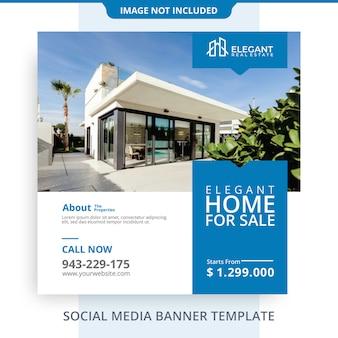 Bewerkbare eenvoudige minimalistische woning te koop onroerend goed banner promoties