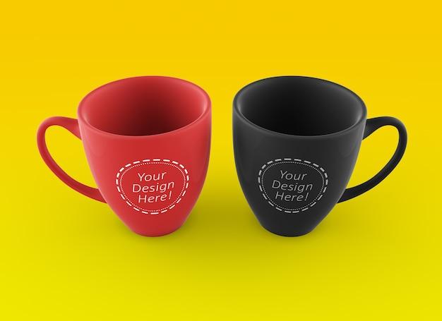 Bewerkbare en veranderlijk mock up ontwerpsjabloon van twee koffiemokken naast elkaar