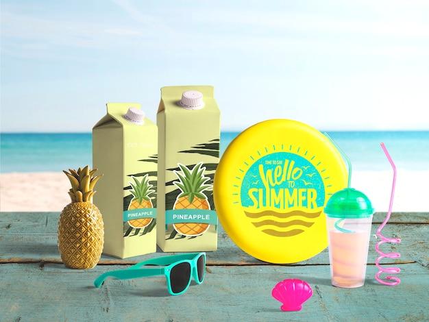 Bewerkbare frisbee mockup met zomer elementen