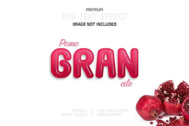 Bewerkbare granaatappel teksteffect sjabloon