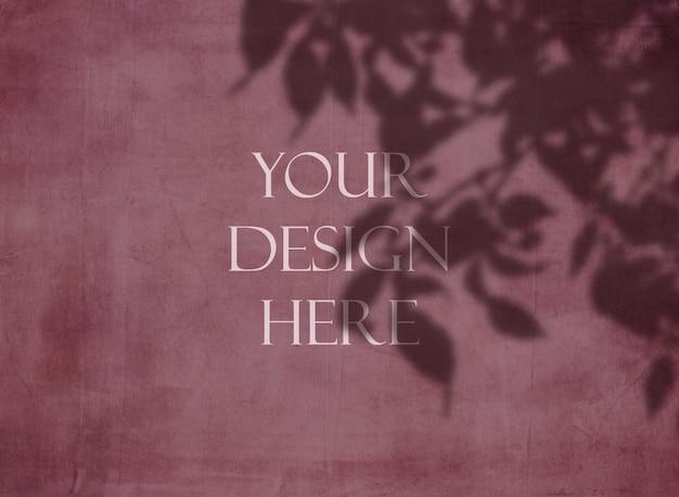 Bewerkbare grunge mock up met bloemen schaduw overlay achtergrond