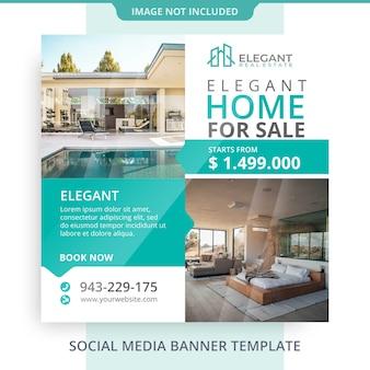 Bewerkbare huis voor verkoop onroerend goed banner promoties
