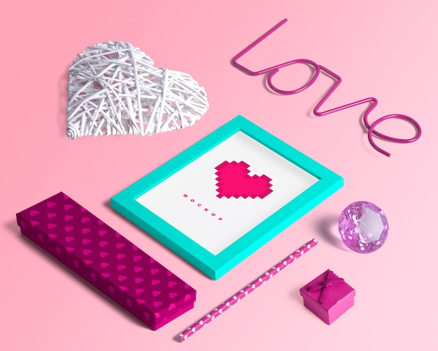 Bewerkbare isometrische scène schepper mockup met valentijnsdag concept