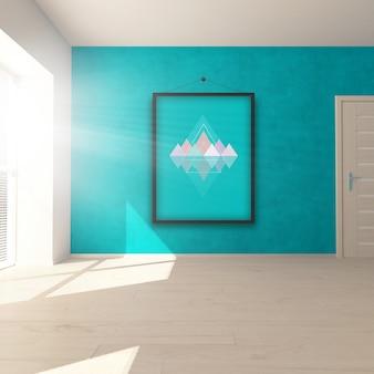 Bewerkbare kamer interieur mock up met hangende foto - plaats uw eigen foto in frame