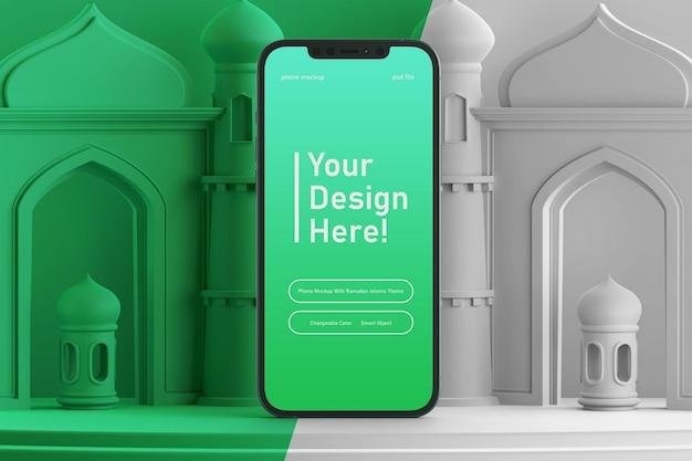 Bewerkbare kleur smartphone scherm mockup op creatieve 3d render ramadan eid mubarak islamitische thema