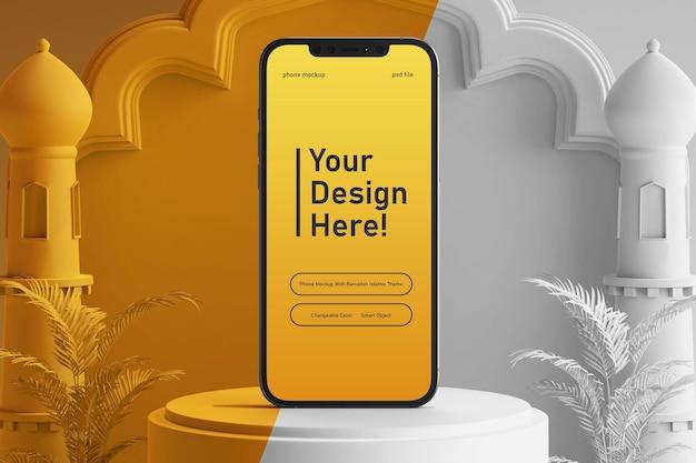 Bewerkbare kleur telefoon scherm mockup op creatieve 3d render ramadan kareem eid mubarak islamitische thema