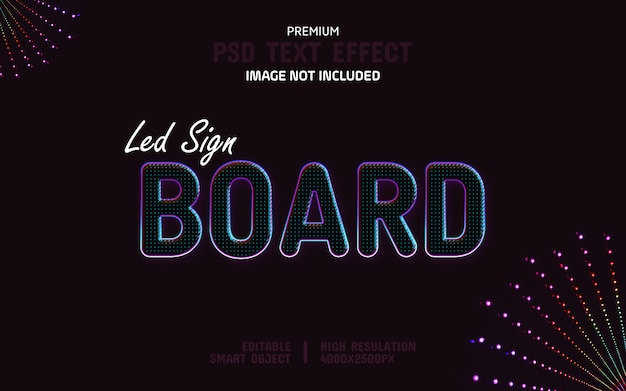 Bewerkbare led sign board teksteffectsjabloon