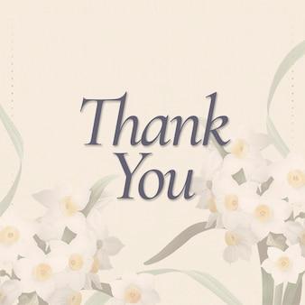 Bewerkbare lente-sjabloon psd met bedanktekst