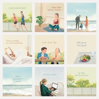 Bewerkbare levensstijlsjabloon psd set met handgetekende illustraties