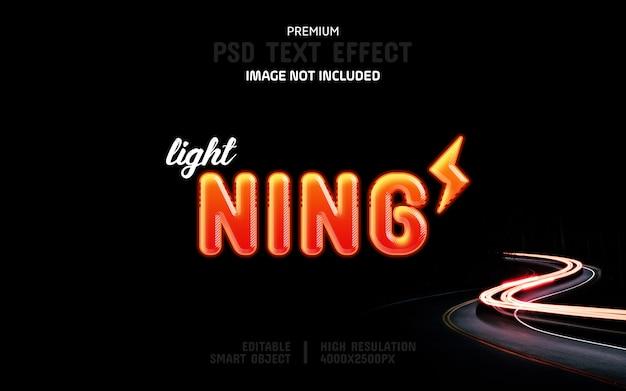 Bewerkbare lightning-teksteffectsjabloon Premium Psd