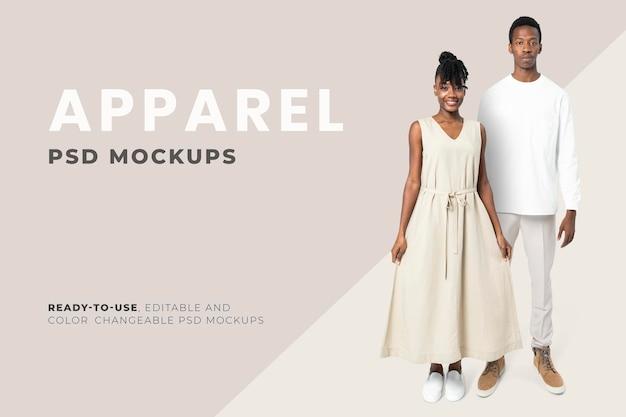 Bewerkbare minimale kleding mockup psd heren- en damesmodeadvertentie