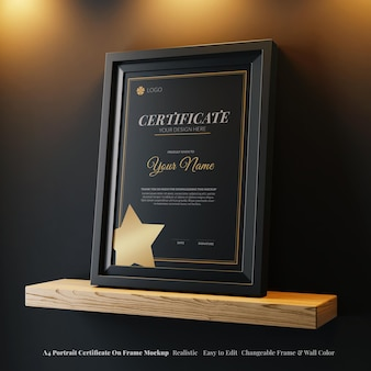Bewerkbare moderne a4 portret elegante certificaat frame realistische mockup op houten plank