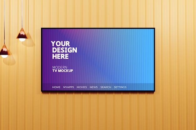 Bewerkbare moderne televisieweergave mockup
