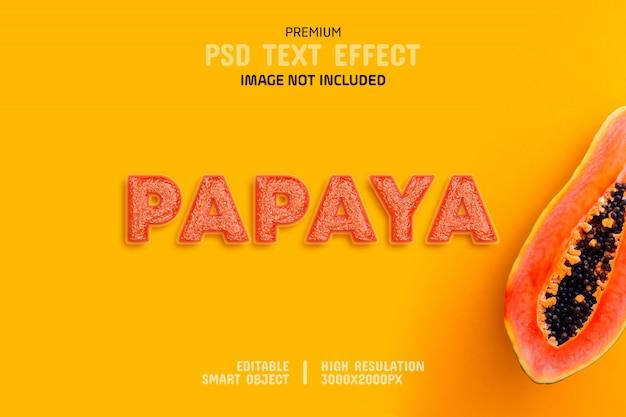 Bewerkbare papaya-teksteffectsjabloon