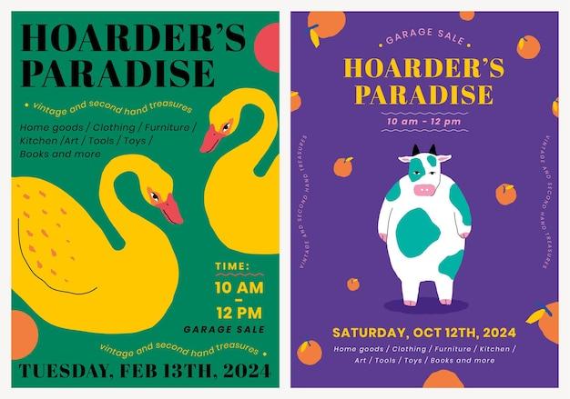 Bewerkbare postersjabloon psd voor garage sale met schattige dierenillustratieset