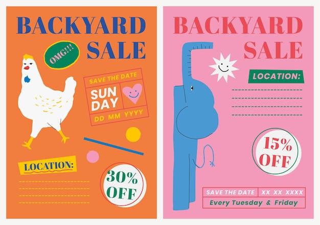 Bewerkbare postersjabloon psd voor verkoop in de achtertuin met schattige dierenillustratieset