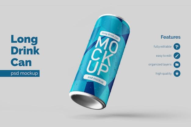 Bewerkbare premium drijvende juiste lange aluminium drank kan mockup ontwerpsjabloon