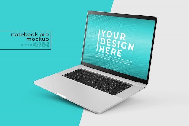 Bewerkbare premium mobiele laptop pro psd mock ups design s in rechtgekantelde positie in rechteraanzicht