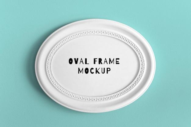 Bewerkbare psd-mockup met een enkel rond ovaal horizontaal wit getextureerd frame